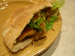 Thai Peanut-Burger Wraps with Spicy Peanut Sauce -- Epicurean Vegan