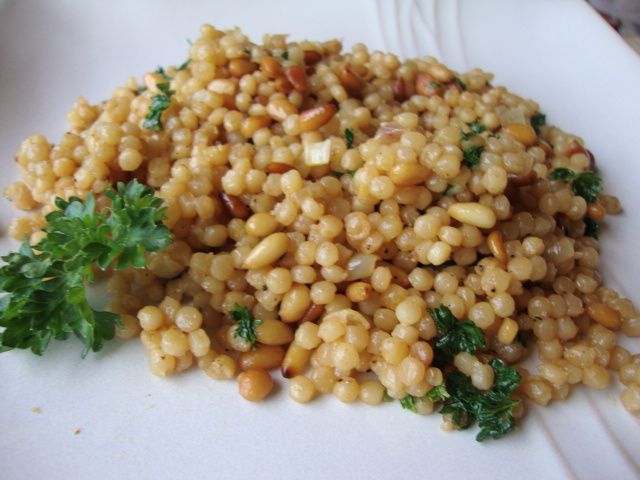 Israeli Couscous with Pine Nuts and Parsley -- Epicurean Vegan