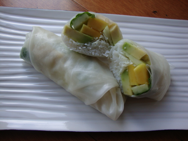 Mango and Avocado Spring Rolls -- Epicurean Vegan