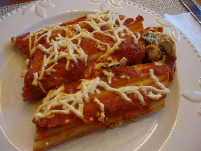 Mushroom and Spinach Manicotti -- Epicurean Vegan