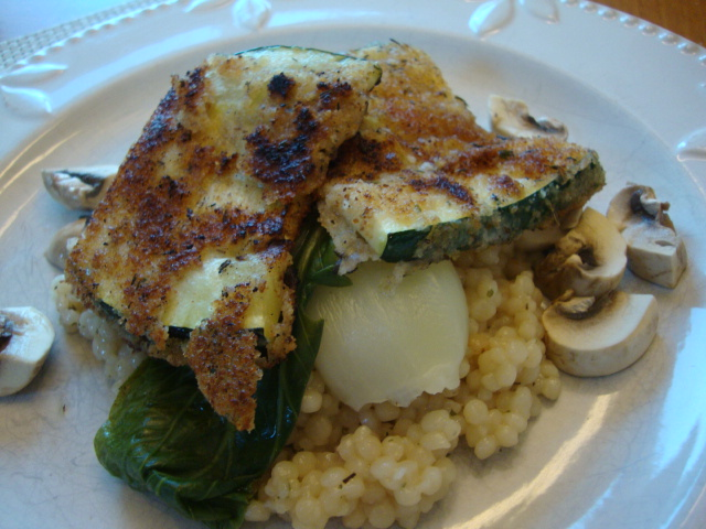 Breaded Zucchini with Bok Choy and Couscous -- Epicurean Vegan