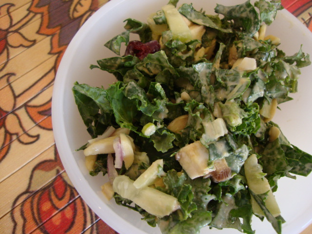 Kale Salad with Tahini Dressing -- Epicurean Vegan