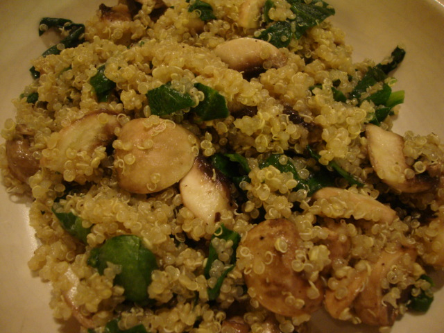 Quinoa with Mushrooms and Spinach -- Epicurean Vegan