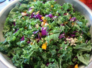 Kale and Cabbage Salad with Lemony-Almond Butter Dressing -- Epicurean Vegan