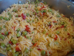 Orzo Pilaf with Roasted Red Peppers and Peas -- Epicurean Vegan
