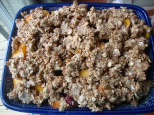 Peach N' Cherry Cobbler with Almond Cream -- Epicurean Vegan