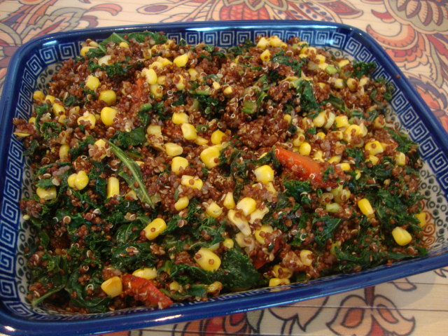 Red Quinoa Pilaf with Kale & Corn -- Epicurean Vegan