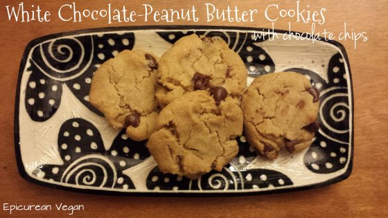 White Chocolate-Peanut Butter Cookies with Chocolate Chips -- Epicurean Vegan