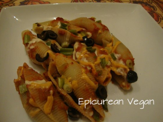 Mexican Stuffed Shells -- Epicurean Vegan