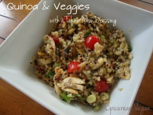 Quinoa and Veggies with a Tahini Miso Dressing -- Epicurean Vegan